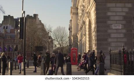 LONDON, UK. January 18, 2017 Tourists walk around the city center