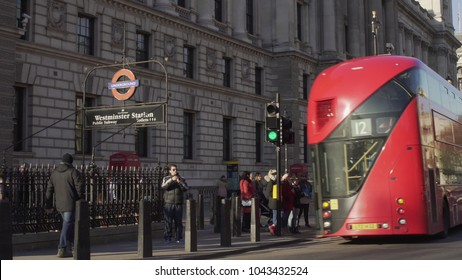 LONDON, UK. January 18, 2017. Tourists walk around the city center. Near underground station