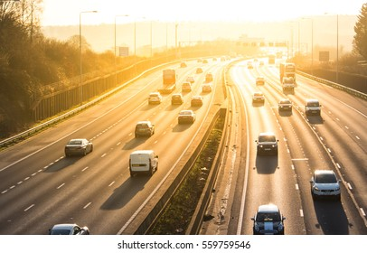 LONDON, UK - JANUARY 18, 2017: Sunset above busiest British motorway M25
