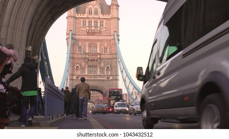 LONDON, UK. January 19, 2017 Tower Bridge View under the arch with people