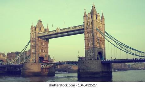 LONDON, UK. January 19, 2017. Tower Bridge. With many birds. Tilt-orange color correction.