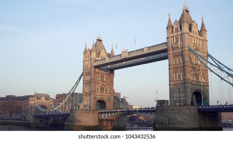LONDON, UK. January 19, 2017. Tower Bridge. With many birds.