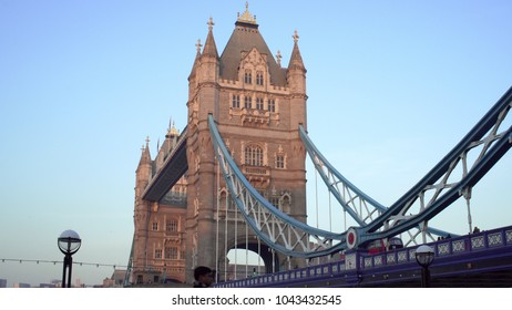 LONDON, UK. January 19, 2017. Tower Bridge. With people, birds, bus and a traffic light