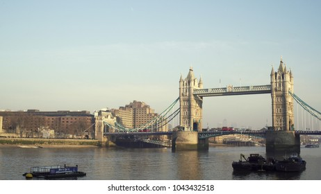LONDON, UK. January 19, 2017.Tower Bridge. With a bus.