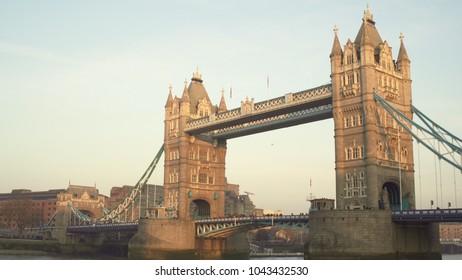 LONDON, UK. January 19, 2017.Tower Bridge. With birds.