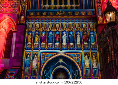 LONDON, UK - JANUARY 19 2018: Facade at Westminster Cathedral lit up during Lumiere London 2018.  The front of the building is illuminated with colourful projection.