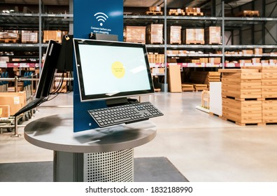 London, UK, January 19, 2020: ikea self-serve find your products here, screen touch