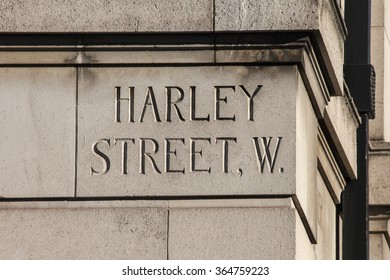 LONDON, UK - JANUARY 19TH 2016: A street sign for Harley Street in London, on 19th January 2016.  Harley Street is best known for its large number of private medical specialists.