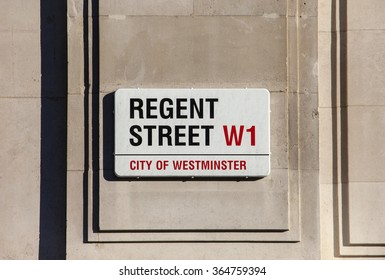 LONDON, UK - JANUARY 19TH 2016: A street sign for Regent Street in central London, on 19th January 2016.
