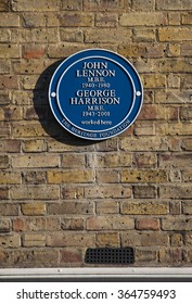LONDON, UK - JANUARY 19TH 2016: A blue plaque marking the former location of The Beatles defunct Apple Boutique shop on Baker Street in London, on 19th January 2016.