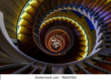London UK, January 2018. Close up of Cecil Brewer Spiral Staircase with Bocci lights at Heal's Furniture Store, Tottenham Court Road, London