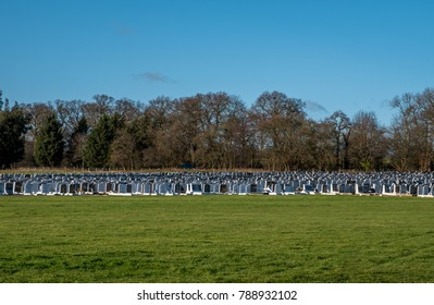 London UK, January 2018. Jewish cemetery in north London, photographed from a distance on a sunny day.