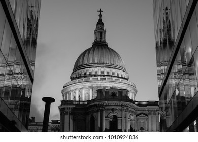 London UK, January 2018. View of the dome of St Paul's Cathedral. Photographed in monochrome at dusk from One New Change