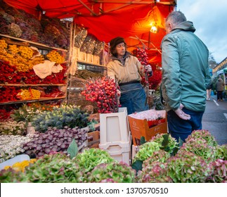 London, UK - January 2019. Early morning as the Columbia Road Flower Market opens on Sunday in the London Borough of Tower Hamlets. Located on the East End, it is open every Sunday, including Easter.