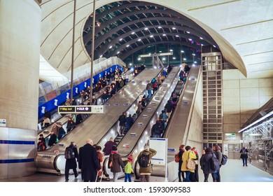 LONDON, UK - JANUARY 21, 2017: Canary Wharf tube station interior.