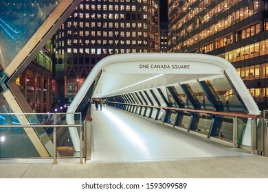 LONDON, UK - JANUARY 21, 2017: Crossrail Place walkway connects New Crossrail Railway Station Building to One Canada Square, London, Canary Wharf.