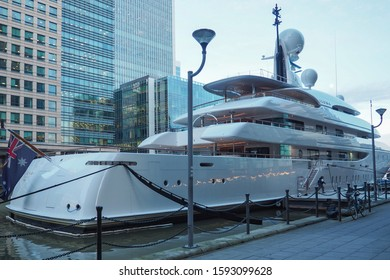 LONDON, UK - JANUARY 21, 2017: SuperYacht Ilona belonging to Frank Lowy moored in West India Dock in Canary Wharf, City of London.
