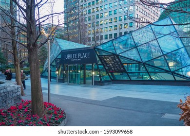 LONDON, UK - JANUARY 21, 2017: Entrance to Jubilee Place shopping mall in Canary Wharf in London.