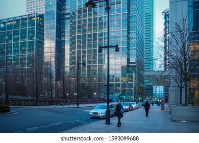 LONDON, UK - JANUARY 21, 2017: View of streets and buildings of Canary Wharf business district in winter.