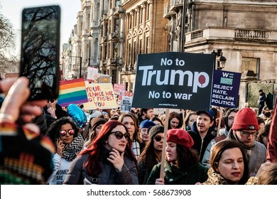 LONDON, UK - JANUARY 21, 2017: Thousands of people marching in central London for women's rights and to protest against president Trump election.