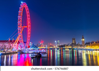 LONDON, UK - JANUARY 22, 2017:Panoramic view on Thames River with The Big Ben, the House of Parliament the Westminster Bridge and the London Eye, London, UK