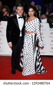 LONDON, UK. January 22, 2019: Nathan Massey & Cara De La Hoyde at the National TV Awards 2019 at the O2 Arena, London.