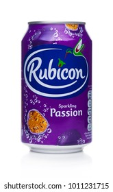 LONDON, UK - JANUARY 24, 2018: Aluminium Can of Rubicon sparkling soda drink with passion fruit on white background