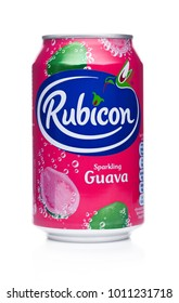 LONDON, UK - JANUARY 24, 2018: Aluminium Can of Rubicon sparkling soda drink with guava on white background