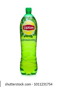 LONDON, UK - JANUARY 24, 2018: Plastic bottle of Lipton green ice tea on white background