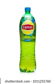 LONDON, UK - JANUARY 24, 2018: Plastic bottle of Lipton green ice tea with lime and mint on white background