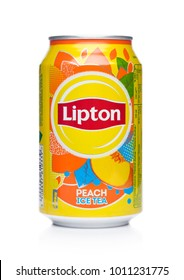 LONDON, UK - JANUARY 24, 2018: Aluminium can of Lipton ice tea with peach on white background