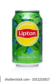 LONDON, UK - JANUARY 24, 2018: Aluminium can of Lipton green ice tea on white background