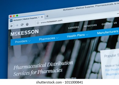 LONDON, UK - JANUARY 25TH 2018: The homepage of the official website for the McKesson Corporation - the American company distributing pharmaeuticals and medical IT and supplies, on 25th January 2018.