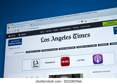 LONDON, UK - JANUARY 25TH 2018: The homepage of the official website for the Los Angeles Times, on 25th January 2018.  The daily newspaper which has been published in LA, California since 1881.