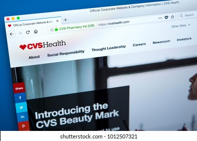 LONDON, UK - JANUARY 25TH 2018: The homepage of the official website for the CVS Health Corporation - the American retail company health care company, on 25th January 2018.