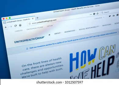 LONDON, UK - JANUARY 25TH 2018: The homepage of the official website for the UnitedHealth Group - the American health care company, on 25th January 2018.