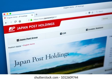 LONDON, UK - JANUARY 25TH 2018: The homepage of the official website for Japan Post Holdings - the Japanese state-owned conglomerate, on 25th January 2018.