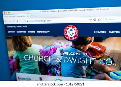 LONDON, UK - JANUARY 25TH 2018: The homepage of the official Website for Church & Dwight Co Inc - the American manufacturer of household products, on 25th January 2018.