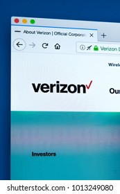 LONDON, UK - JANUARY 25TH 2018: The homepage of the official website for Verizon Communications - the American multinational telecommunications conglomerate, on 25th January 2018.