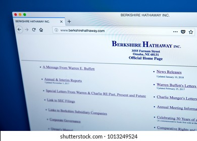 LONDON, UK - JANUARY 25TH 2018: The homepage of the official website for Berkshire Hathaway - the American multinational conglomerate holding company, on 25th January 2018.