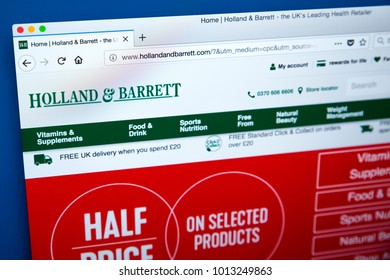 LONDON, UK - JANUARY 25TH 2018: The homepage of the official website for Holland & Barrett - the chain of health food shops, on 25th January 2018.