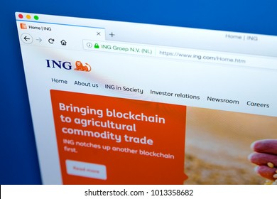 LONDON, UK - JANUARY 25TH 2018: The homepage of the official website for the ING Group - the Dutch multinational banking and financial services corporation, on 25th January 2018.