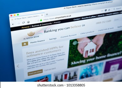 LONDON, UK - JANUARY 25TH 2018: The homepage of the official website for the Al Rayan Bank - the commercial bank in the UK to offer Sharia compliant financial services, on 25th January 2018.
