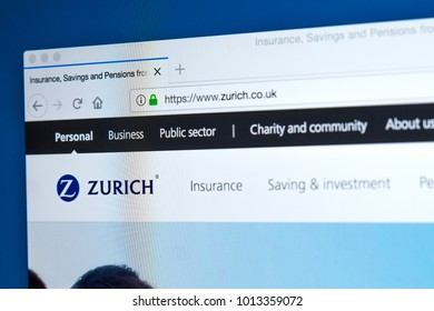 LONDON, UK - JANUARY 25TH 2018: The homepage of the official website for the Zurich Insurance Group - the Swiss insurance company, on 25th January 2018.