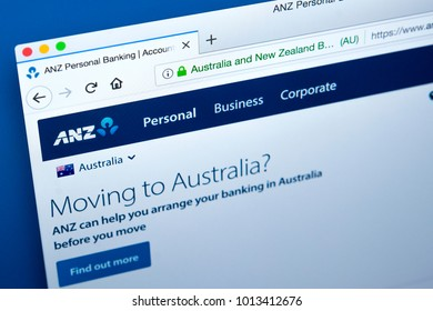 LONDON, UK - JANUARY 25TH 2018: The homepage of the official website for the Australia and New Zealand Banking Group, on 25th January 2018.