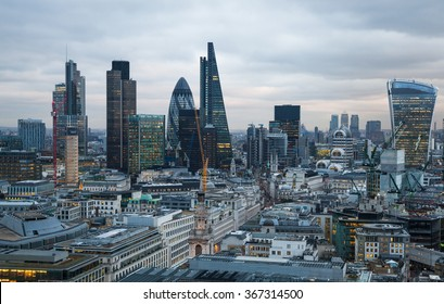 LONDON, UK - JANUARY 27, 2015: Panoramic view City of London at sunset