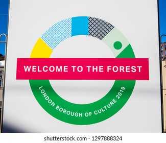 London, UK - January 28th 2019: A sign at Chingford Station in London, promoting the London Borough of Waltham Forest as the 2019 London Borough of Culture.