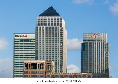 LONDON, UK - JANUARY 30, 2016: Skyline of the main office buildings from across the river at Canary Wharf, Docklands, London, England