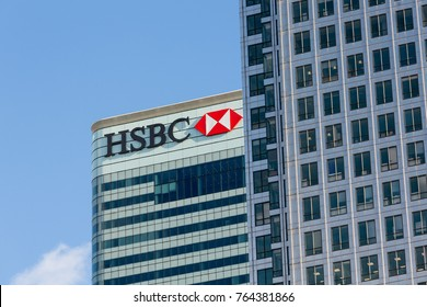 LONDON, UK - JANUARY 30, 2016: Logo or sign for HSBC Bank on side of office building in Canary Wharf, Docklands, London, England