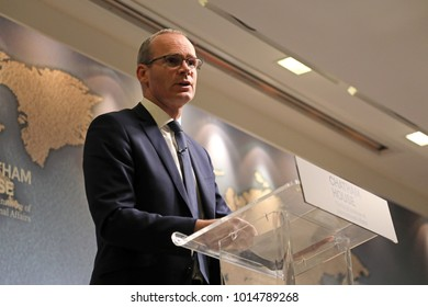 London / UK - January 31, 2018. Simon Coveney, Irish deputy prime minister and minister for foreign affairs and trade, gives a speech on British-Irish relations at the Chatham House think-tank